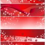 Five Snowflake Christmas Banners — Stock Photo