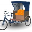 Asian Rickshaw Pulled by Bicycle Illustration - Stock Photo