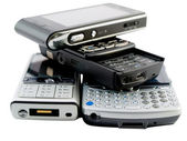 Stack of Several Modern Mobile Phones — Stock Photo