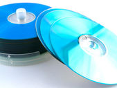 CDs DVDs Disks on White Background — Stock Photo