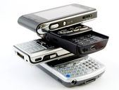 Stack Pile of Several Modern Cellphones — Stock Photo