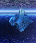 Iceberg en el océano abierto con horizonte — Foto de Stock