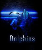 Isberg i havet med pod av delfiner — Stockfoto