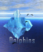 Iceberg in the Ocean with Pod of Dolphins — Stock Photo