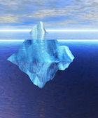 Floating Iceberg in the Open Ocean with Horizo — Foto de Stock