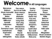 Welcome written in 60 different languages — ストック写真