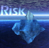Floating Iceberg in the Ocean with Risk Text — Stock Photo