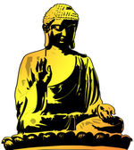 Golden Buddha Sitting Illustration — Stock Photo