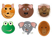 Various Animal Face Cartoon Illustrations — Stock Photo