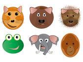 Various Animal Face Cartoon Illustrations — Stock Photo
