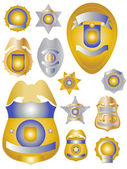 Twelve Gold Brass and Tin Police Badges Shields — Stock Photo