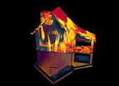 Red Home on Fire House on Black — Stock Photo