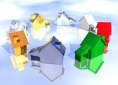 Ring of Various Types of 3d Houses — Stock Photo