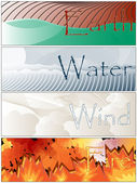 Four Elements Fire Earth Wind Water Banners — Stock Photo