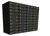 Web Hosting Server Rack on white — Stock Photo