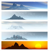 Five Distant Mountain Landscape Banners — Stock Photo