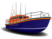 Orange and Blue Coastguard Lifeboat — Stock Photo