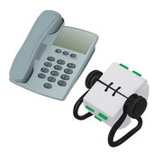 Modern Desk Phone and Rolodex Organiser — Stock Photo