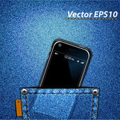 Cellular in jeans pocket — Vetorial Stock