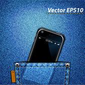 Celular no bolso da calça jeans — Vetorial Stock