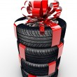 Tyres with ribbon — Stock Photo
