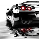 Black car reflected — Stock Photo
