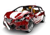Czerwony samochód wypadek — Zdjęcie stockowe