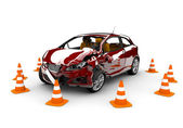 Red car accident — Stockfoto