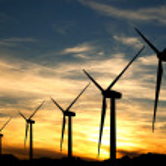 turbiny wiatrowe w zachód słońca — Zdjęcie stockowe #9966998