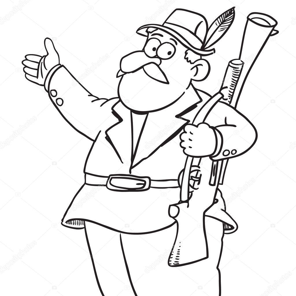cartoon hunter  u2014 stock vector  u00a9 tajim1  9385269