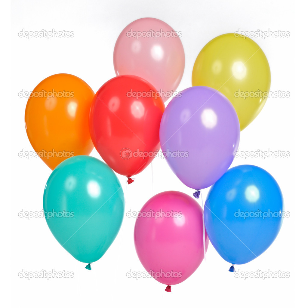 A bunch of colorful balloons, isolated on white background — Stock Photo #10427967