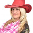 Portrait of a beautiful woman with cowboy's hat — Stock Photo