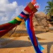 Colorful Ribbons on Thai longtail boat - Stock Photo