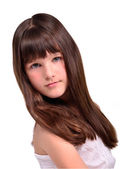 Portrait of beautiful little girl with luxuriant long hair — Stock Photo