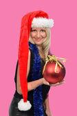 Krásná žena s santa hat — Stock fotografie