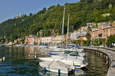 Yachts in small town on Garda Lake, Toscolano — Stock Photo
