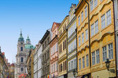 Prague street with colorful houses — Stock Photo