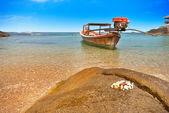 Bir koyunda tekne — Stok fotoğraf