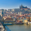 Prague, Charles bridge and Prague Castle, Vltava panorama - Stock Photo