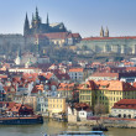 Prague Castle, Vltava river and Charles Bridge — Stock Photo #8334015