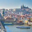 Charles Bridge, Vltava river and Charles Bridge, Prague — Stock Photo