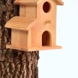 Comfortable starling-house on a tree trunk isolated — Stock Photo