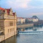 Vltava river embankment and Smetana Museum — Stock Photo