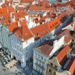 Old town roofs birds eyes view, Prague — Stock Photo