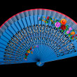 China blue hand fan isolated on black — Stock Photo