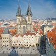 Aerial view of Old Town Square in Prague from the top of the town hall — Stock Photo