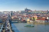 River panorama - Charles Bridge and Prague Castle, Prague — Stok fotoğraf