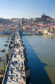 Charles Bridge, Prague Castle and Vltava river, Prague — Zdjęcie stockowe