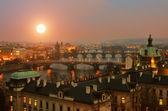 View on Prague Bridges at sunset — Stock Photo