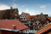 View over the tiled roofs of half-timbered houses in Germany — Stock Photo
